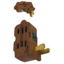 PT-7817A - UL 3 Outlet Wall Tap Brown **