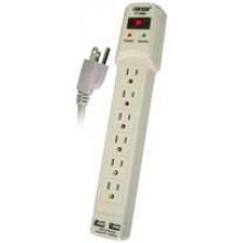 PT-7866U - 6 Outlet Power Strip w/ Surge & 2 USB Ports