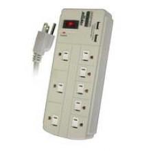 PT-7868U - 8 Outlet Power Strip w/ Surge & 2 USB Ports