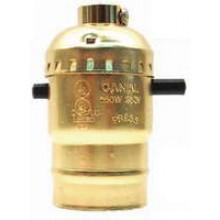 PT-7932G - UL Brass Light bulb Socket w/ Push Switch