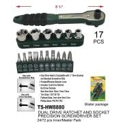 """TS-HW8880 - 17 PCS 5 1/2"""" Dual Driver Ratchet and Socket Precision Screwdriver Set"""