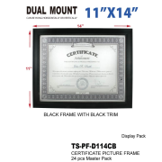 "TS-PF-D114CB - 11"" x 14"" Black Frame With Black Trim"