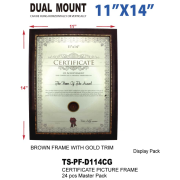 """TS-PF-D114CG - 11"""" X 14' Brown Frame With Gold Trim"""