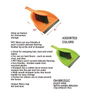 """OH-BR1311C - 9"""" X 13"""" Dust Pan With Hand Brush"""